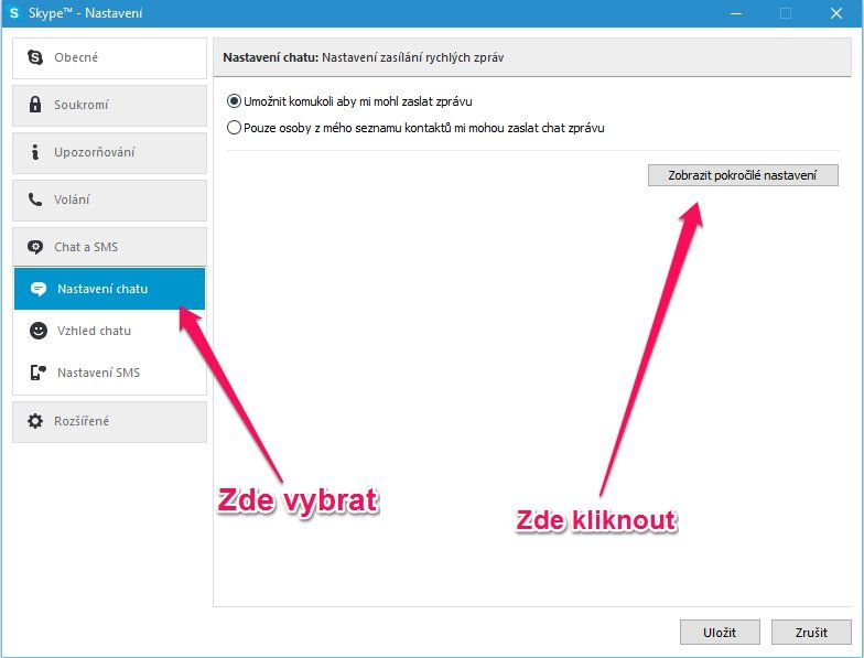 Autokorekce Skype
