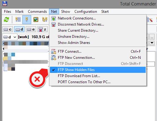 Zobrazení skrytých FTP souborů