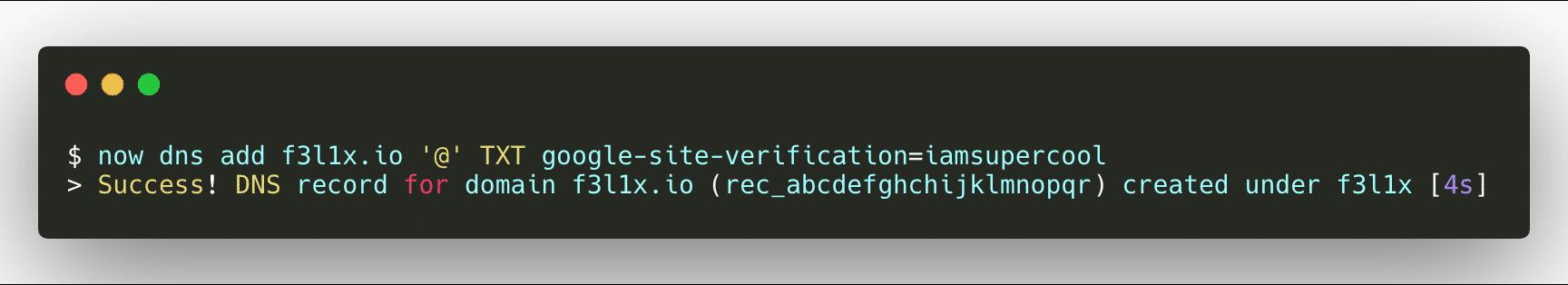 ZEIT DNS - Add new DNS record