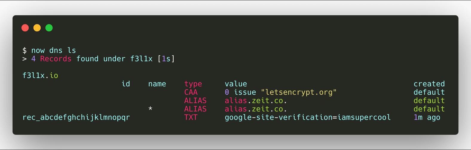 ZEIT DNS - List DNS records