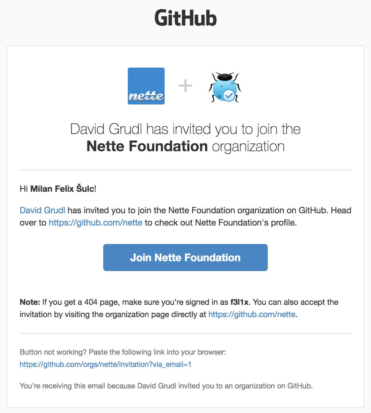 Připojení do Nette organizace